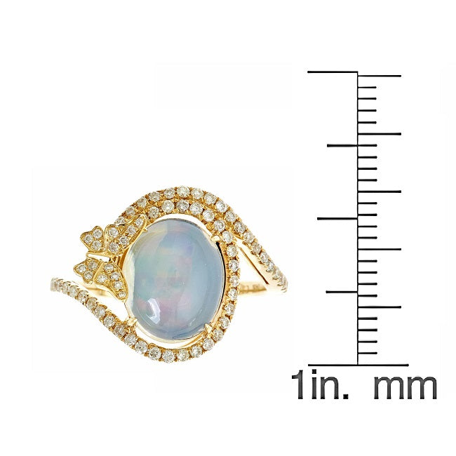 Gin & Grace Valentine's Jewelry 14K Yellow Gold Natural Opal & Diamond (I1,I2) (Size 7)Statement Cocktail Propose Promise Ring for Women