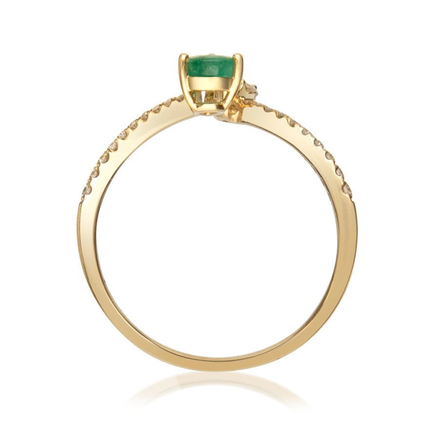 Gin & Grace Valentine's Jewelry 14K Yellow Gold Green Natural Emerald & Natural Diamond (I1,I2) Band Style Propose Promise Ring for Women
