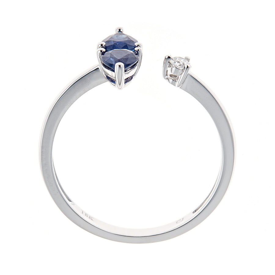 18k White Gold Blue Sapphire & Diamond Ring