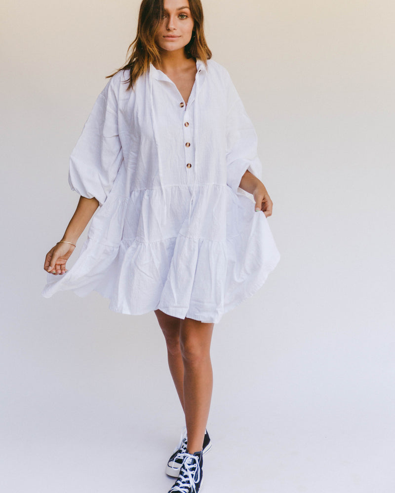 Avalon Smock Dress White