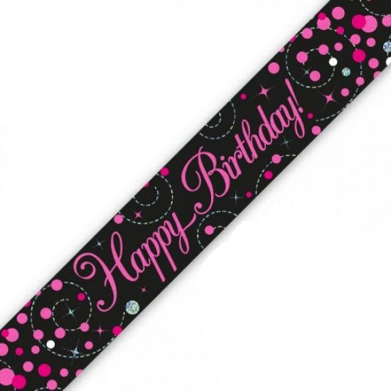Pink Sparkling Fizz Happy Birthday Holographic Banner