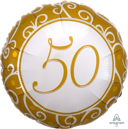 '50' Gold Anniversary / Birthday Foil Balloon