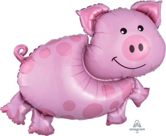 Pink Pig With Spots Foil Balloon Shape