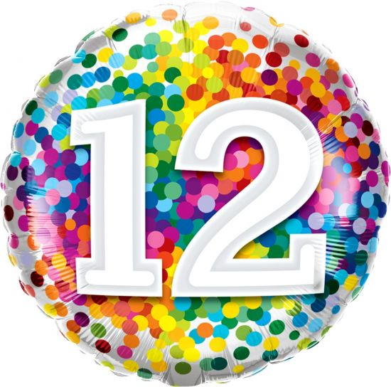 Number '12' Rainbow Confetti Foil Balloon