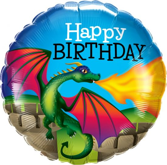 Birthday Mythical Dragon Foil Balloon