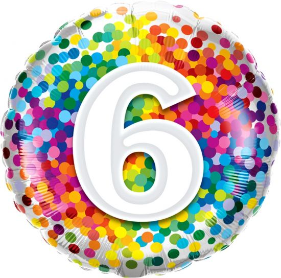 Number '6' Rainbow Confetti Foil Balloon