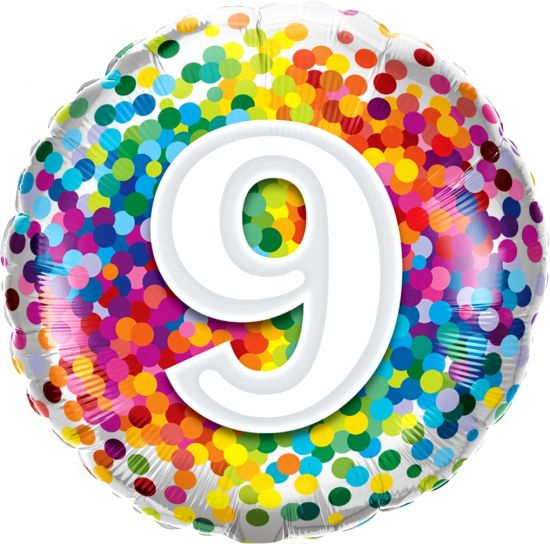 Number '9' Rainbow Confetti Foil Balloon