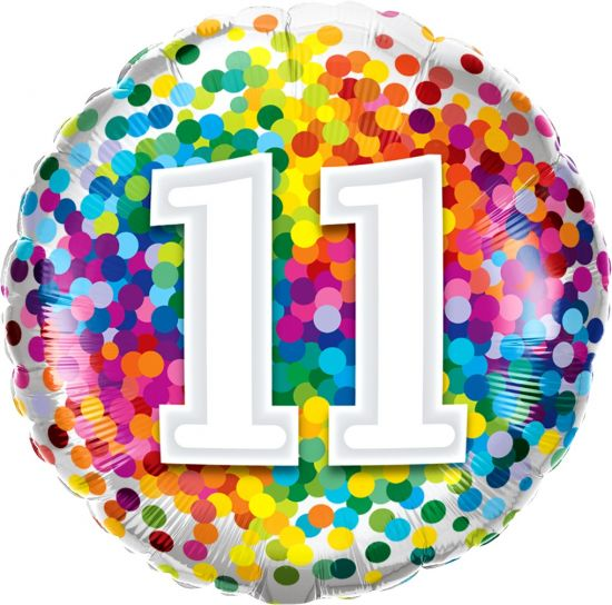 Number '11' Rainbow Confetti Foil Balloon