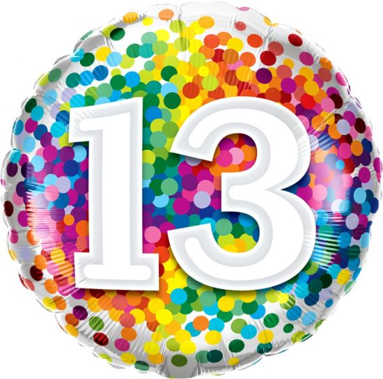 Number '13' Rainbow Confetti Foil Balloon