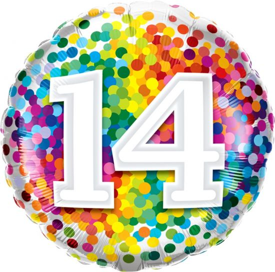 Number '14' Rainbow Confetti Foil Balloon