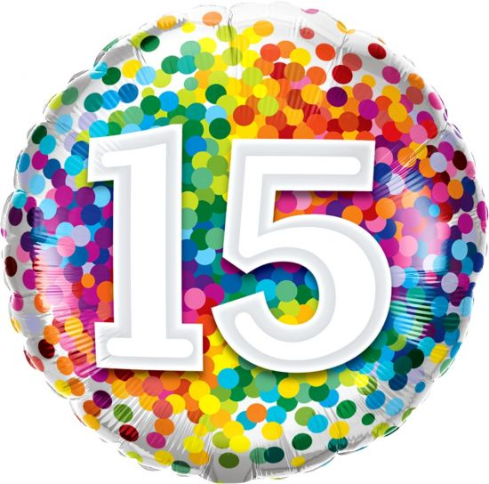 Number '15' Rainbow Confetti Foil Balloon