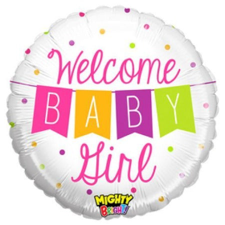 Welcome Baby Girl Bunting Plastic Balloon