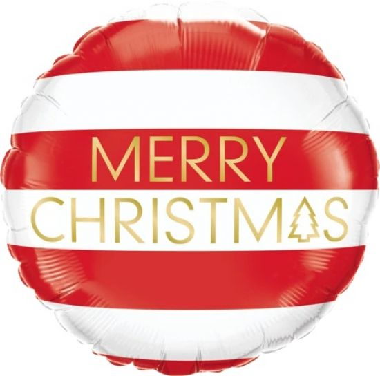 Merry Christmas Red Stripes Foil Balloon