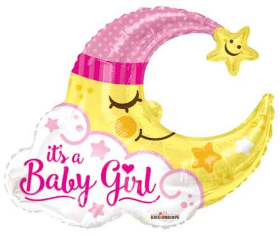 Baby Girl Moon Foil Balloon Shape