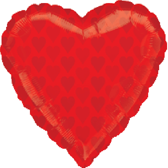 Casino Red Hearts On Heart Foil Balloon