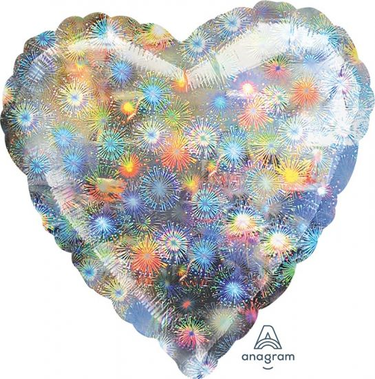 Silver Holographic Fireworks Heart Shape Foil Balloon
