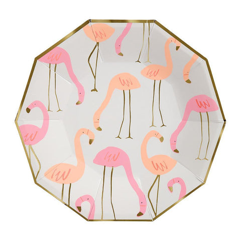 Neon Print With Gold Foil Flamingo Plates