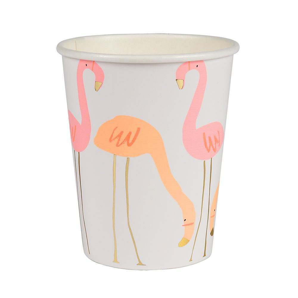 Neon Print With Gold Foil Flamingo Cups