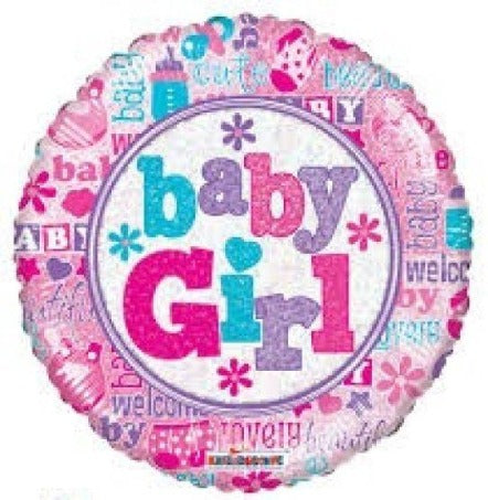 Holographic Baby Girl Bunting Foil Balloon