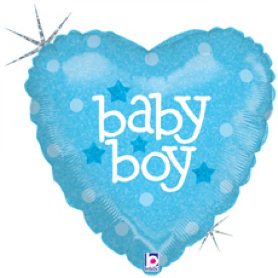 Baby Boy Blue Heart Holographic Foil Balloon