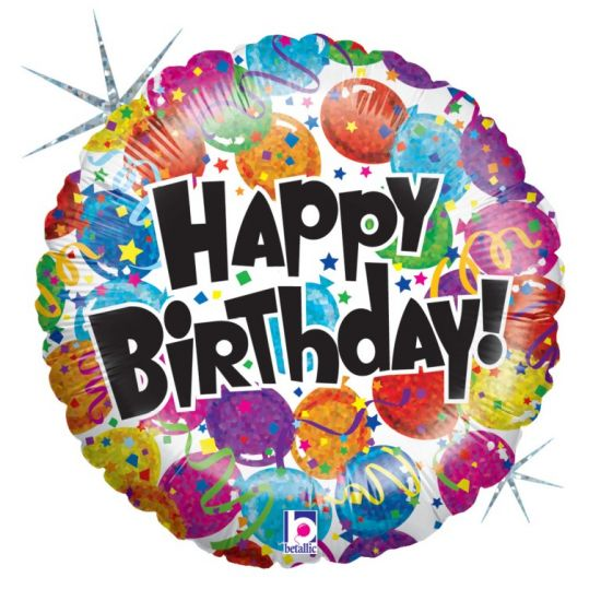 Birthday Party Happy Birthday Holographic Foil Balloon