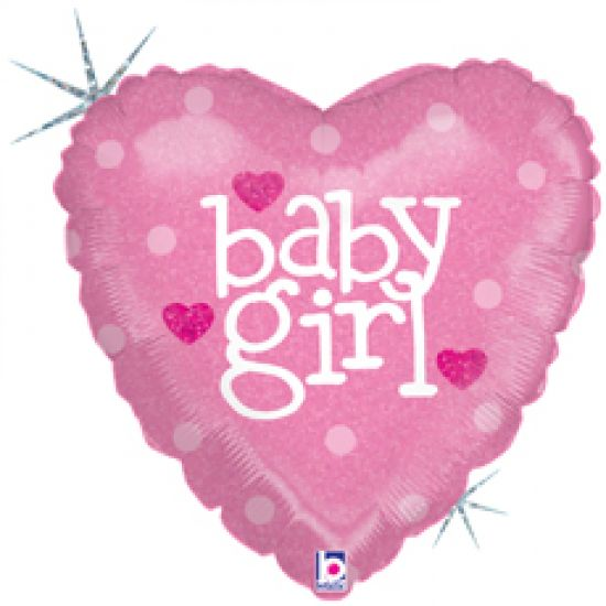 Baby Girl Pink Heart Holographic Foil Balloon