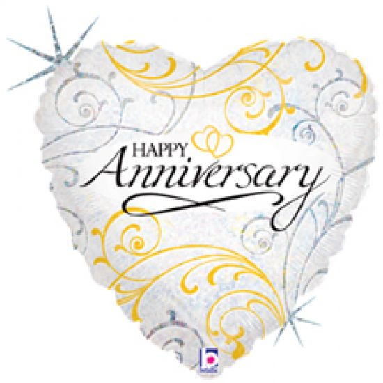 Filigree Happy Anniversary Heart Shape Foil Balloon
