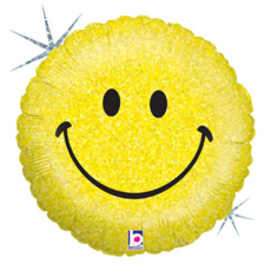 Yellow Holographic Smiley Face Foil Balloon