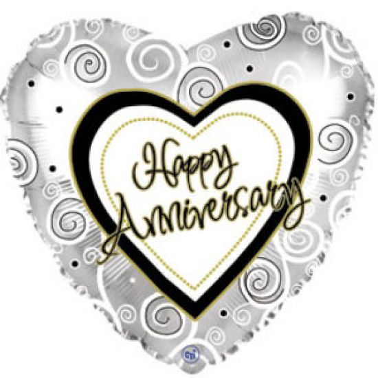 Silver Swirls Happy Anniversary Foil Balloon