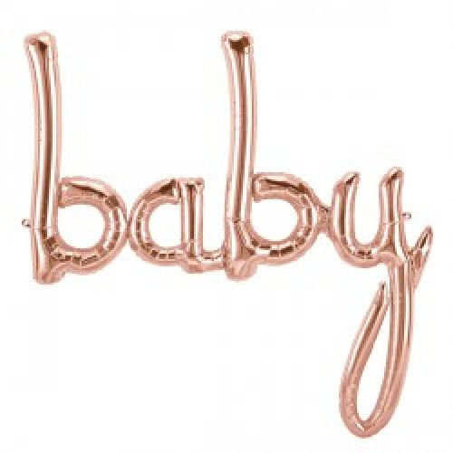 'baby' Rose Gold Script Foil Balloon