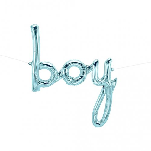 'boy' Pastel Blue Script Foil Balloon