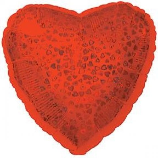 Prismatic Patterned Red Heart Foil Balloon