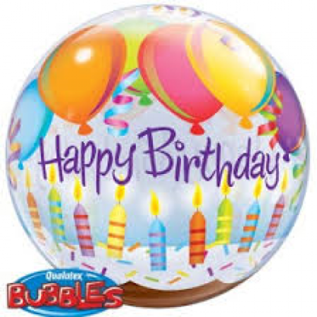 Birthday Balloons & Candles Plastic Bubble Balloon