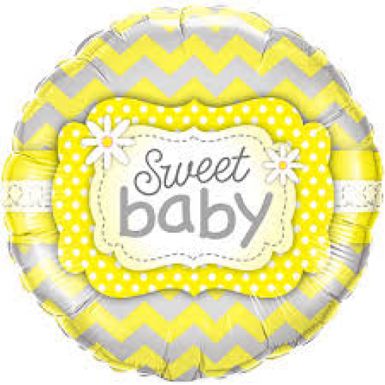 Sweet Baby Yellow Patterns Foil Balloon