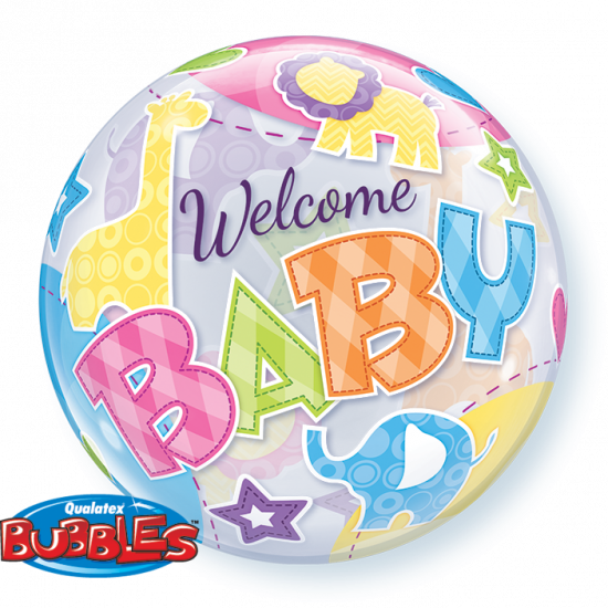 Welcome Baby Animals Bubble Balloon