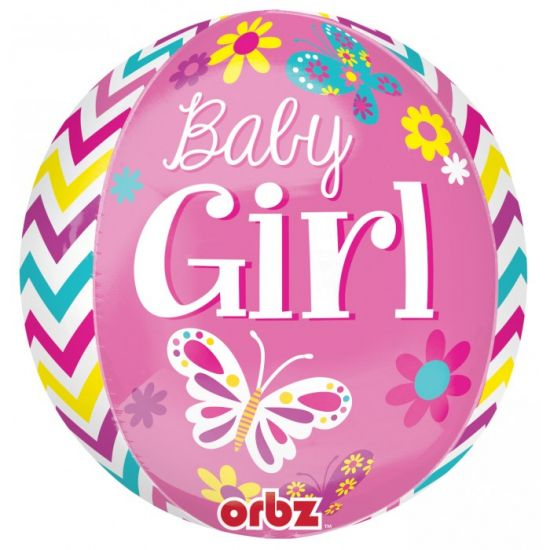 Sweet Baby Girl Orbz Foil Balloon