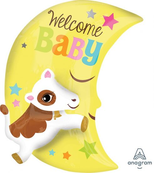 Welcome Baby Over The Moon Foil Balloon Shape