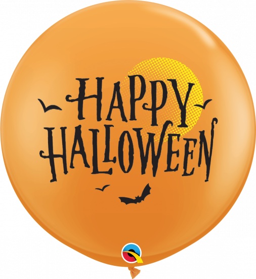 90cm Round Orange Halloween Latex Balloon