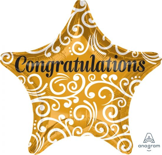 Congratulations Sophisticated Gold Star Foil Balloon