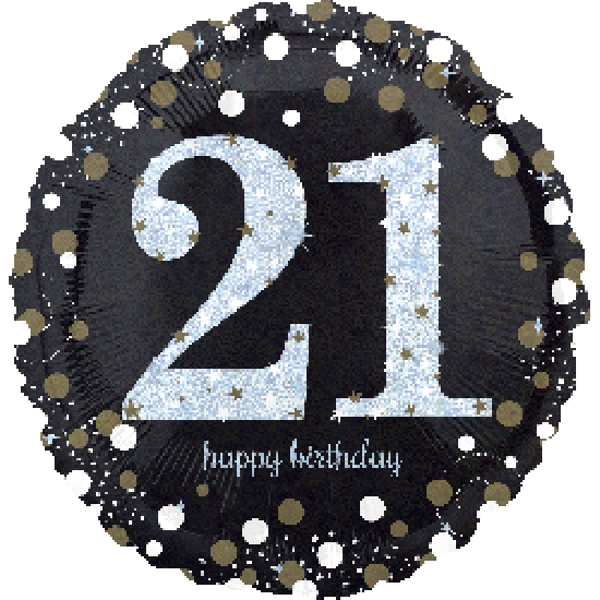 Holographic Sparkling 21 Happy Birthday Foil Balloon