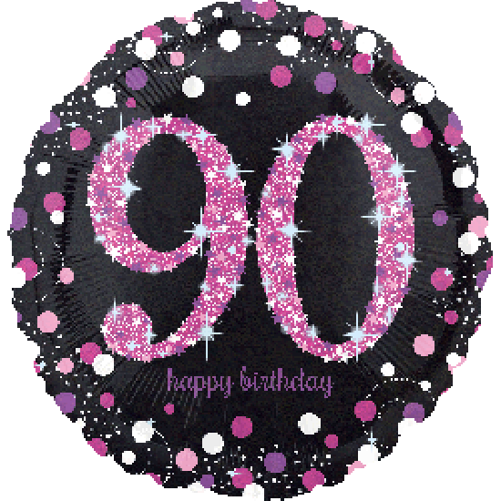 Sparkling Pink Happy 90th Birthday Foil Balloon
