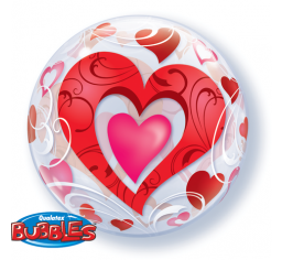 Red Hearts And Filigree Bubble Balloon