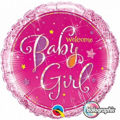 Welcome Baby Girl Stars Holographic Foil Balloon