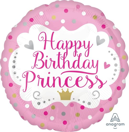 Pink Spot Happy Birthday Princess Foil Balloon