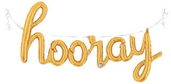 Gold 'hooray' Script Foil Balloon