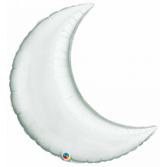 Silver Crescent Moon Foil Balloon Shape
