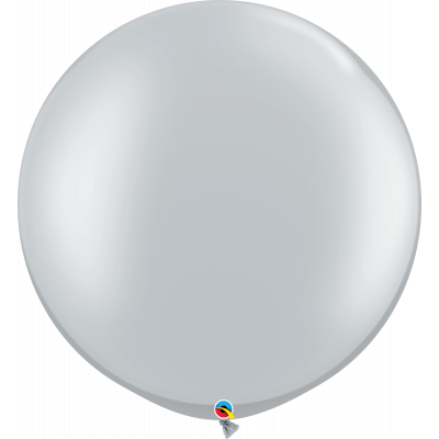 90cm Round Metallic Silver Latex Balloon