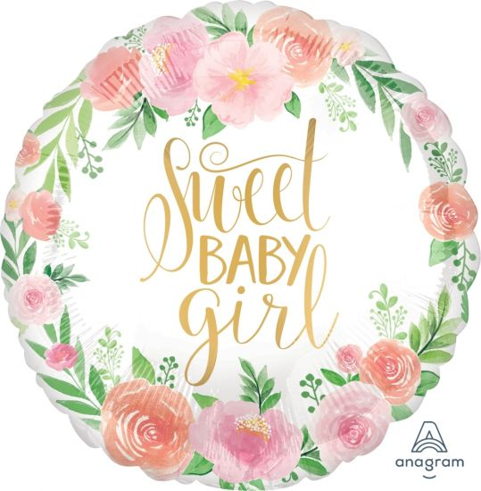 Sweet Baby Girl Floral Foil Balloon