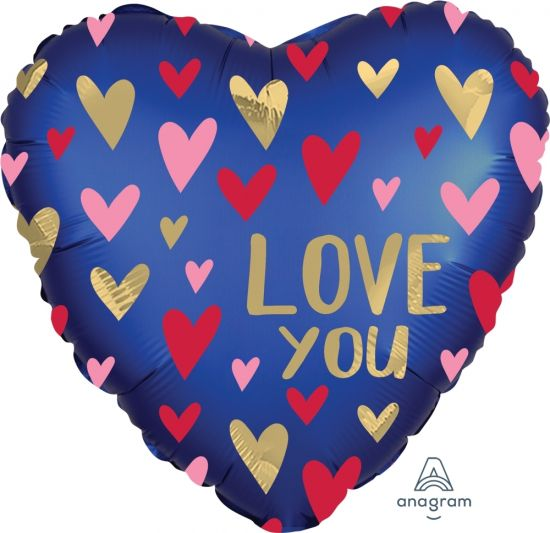 Satin Navy & Gold Love Heart Foil Balloon