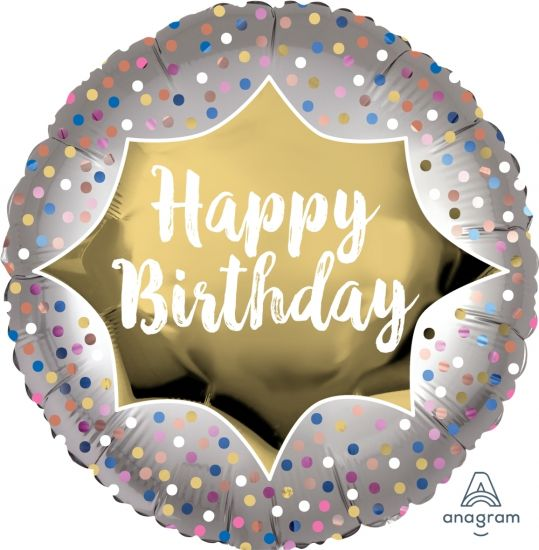 Satin Gold Burst Happy Birthday Foil Balloon